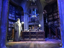 Dumbledore's Office. They had Gambon's costume and Richard Harris's which was really lovely.