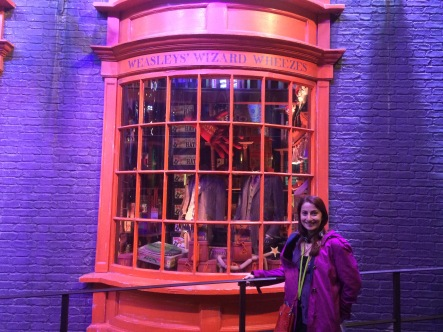 In front of Fred and George's joke shop, I love the Weasley twins, two of my favourite characters.